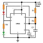 Simple IC 555 Wig-Wag Flasher Circuit Diagram, Image