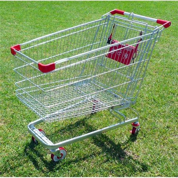 Shopping Cart on Green Grass