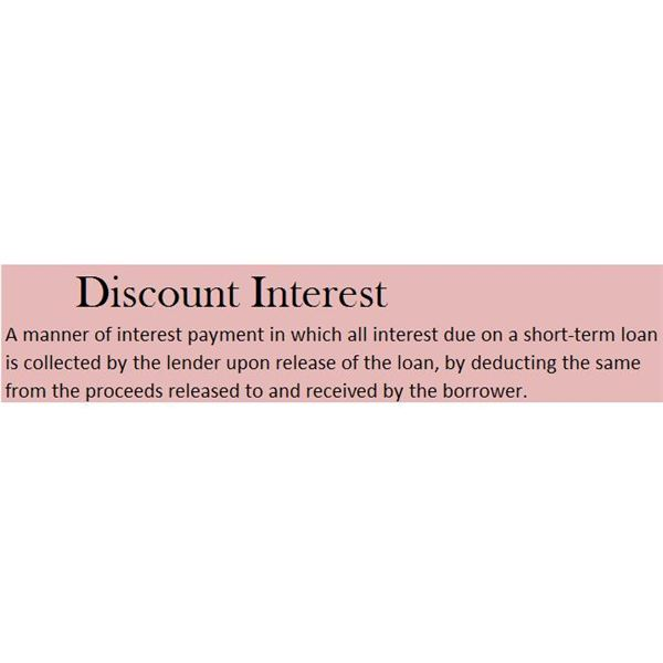 Definition of Discount Interest