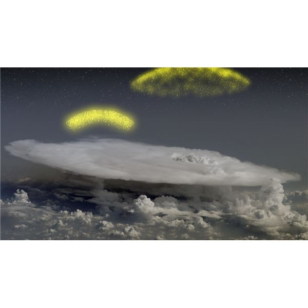 Artists concept of electrons shot into space by thunderstorms