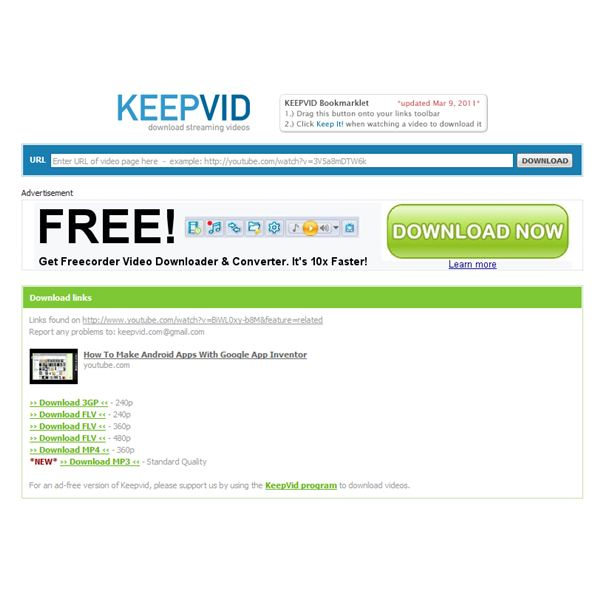 KeepVid can be used with your Android browser