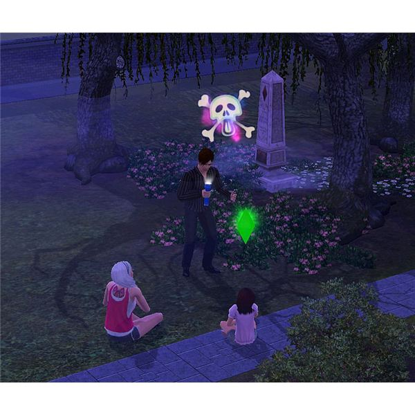The Sims 3 ghost story in graveyard