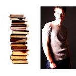 Split image of a young male student and a pile of books uid 1278791