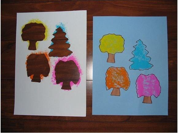 Spring Tree Sponge Painting