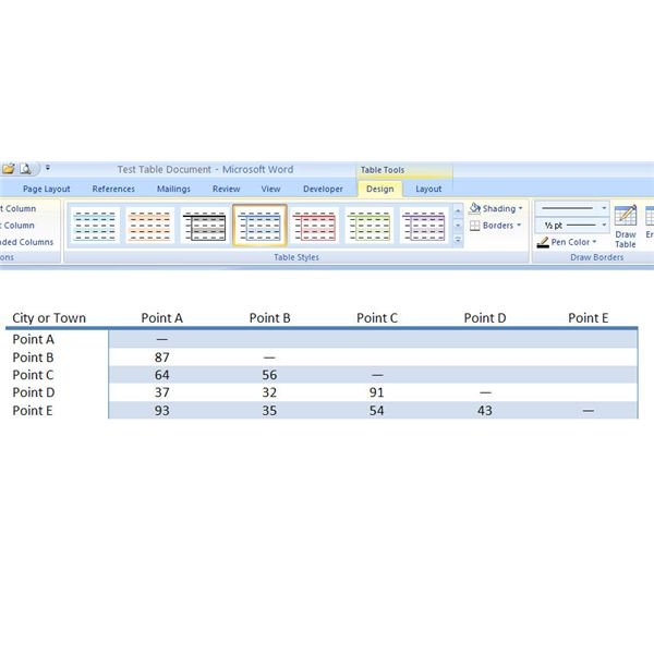 Sample of a Quick Table