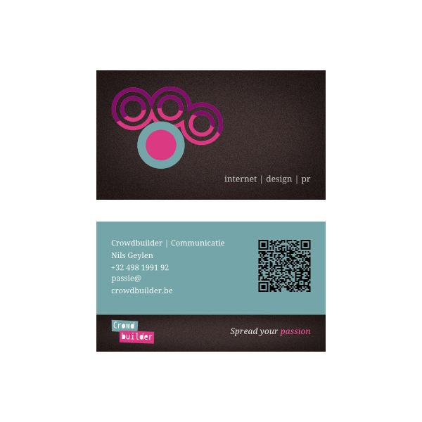 A colorful, well-rendered graphic design business card.