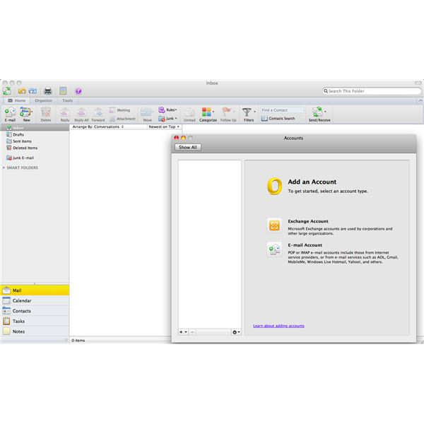 Outlook for Mac 2011 Mail and Add Account