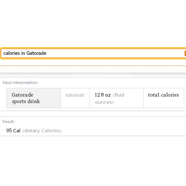 Wolfram Alpha Search Engine - Online Calorie Counter
