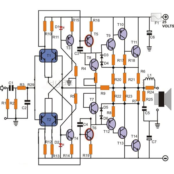100w transistor power amplifier schematic learn how to build it rh brighthubengineering com power amplifier schematic diagram power amplifier schematic diagram.pdf