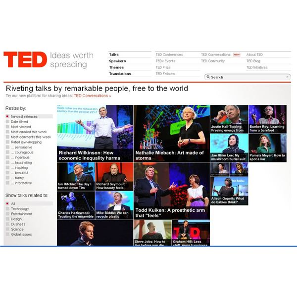 Screenshot by author TED Talk Home Page