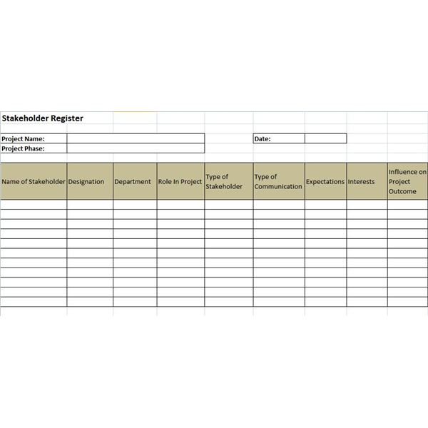 Example of a stakeholder register and a stakeholder for Document register template free