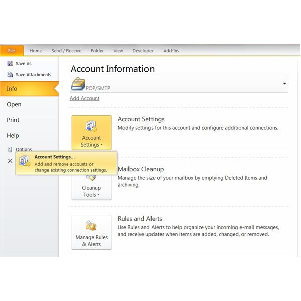 How to Set Up / Configure Outlook 2010 - Account Settings