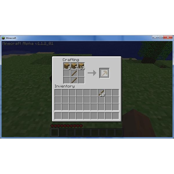 Minecraft Tutorial: Making a Pickaxe