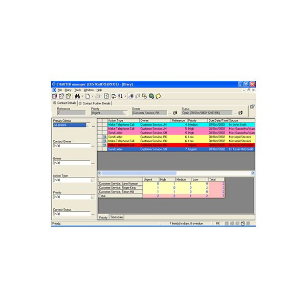 Diary screen in Charter Continuum Software