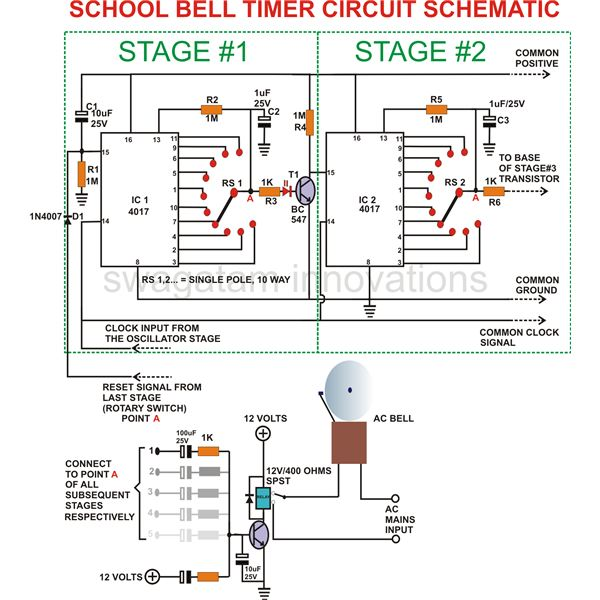 simple instructions for building an electronic school bell timerschool bell timer, circuit schematic, image