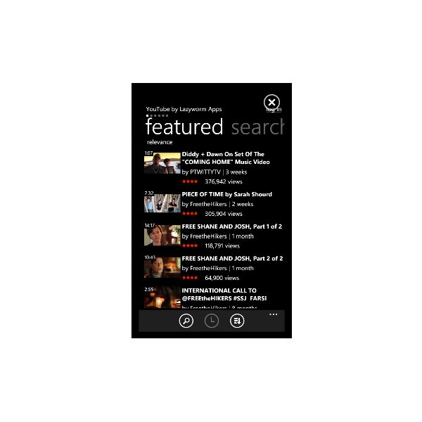 Roundup of Windows Phone 7 YouTube Apps - Lazyworm