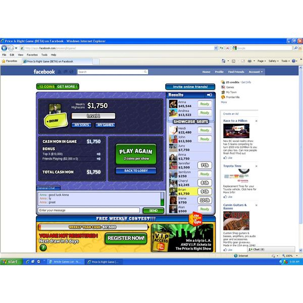 Facebook Price is Right Review - Play the Price is Right Computer Game on Facebook