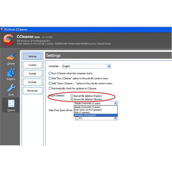 Wipe and Clean Encryption - CCleaner