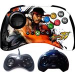 The Fightpad at the top; the Sega Saturn controllers that inspired it at the bottom