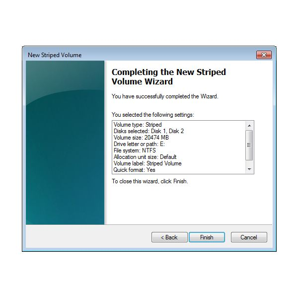 Step 7 - Disk Management Completing the Wizard
