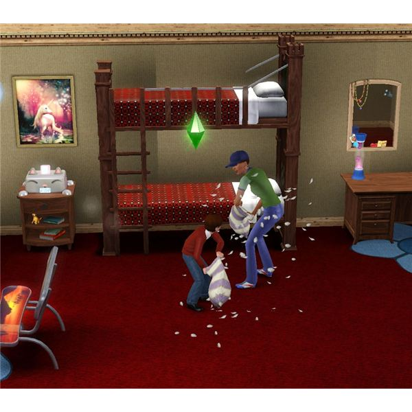 The Sims 3 Generations pillow fighting