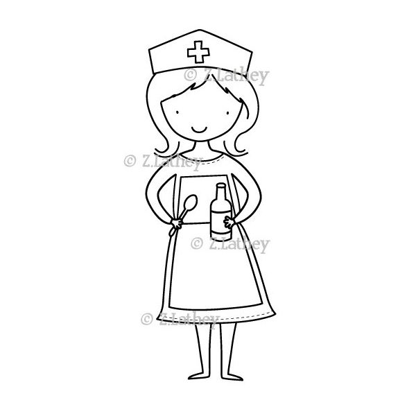 Top 10 nurse digital stamps for Nurse coloring page
