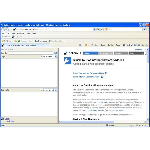 Getting started with the Delicious add on for IE