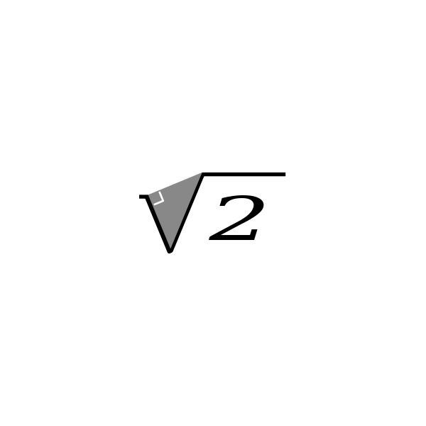 Square Root of 2 by Yves Baelde. Used under Creative Commons license; available from https://commons.wikimedia.org/wiki/File:A_First_Letter_Square_root_of_2.svg