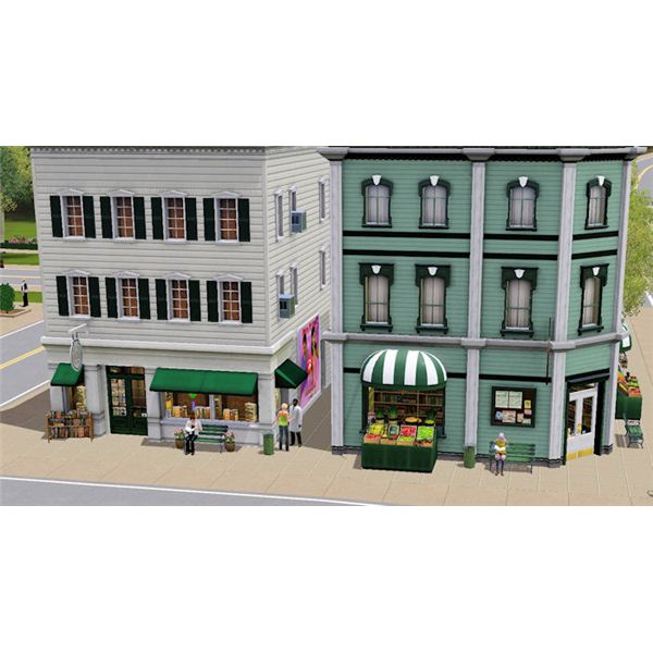 The Sims 3 bookstore and grocery store