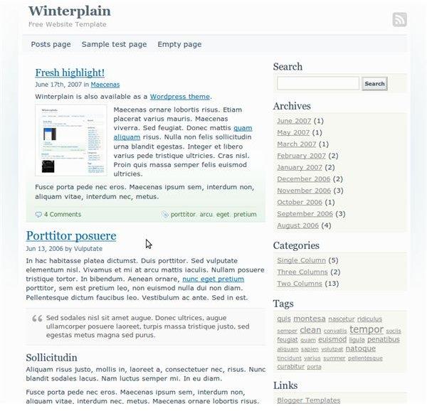Winterplain Free Minimalist Template