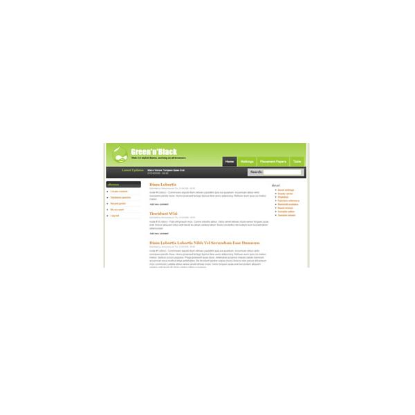 Drupal Templates for Free: Green N Black