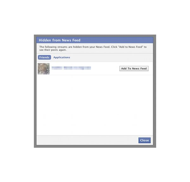 Facebook's Hidden from News Feed popup box