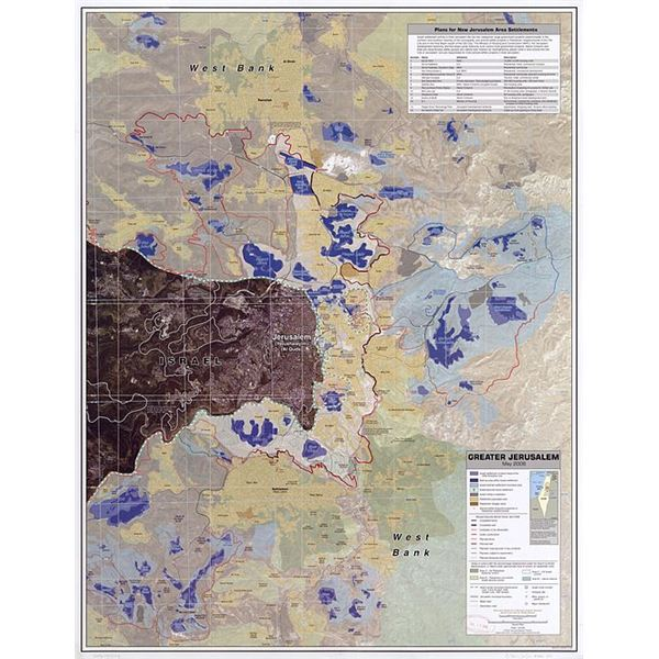 CIA map using active remote sensing of Greater Jerusalem