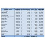 Sample Budget with Projected and Exact Costs