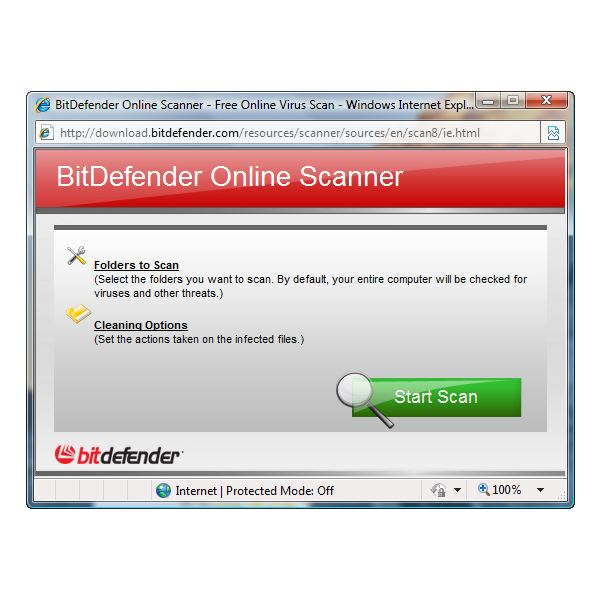Options in Using BitDefender online virus scan