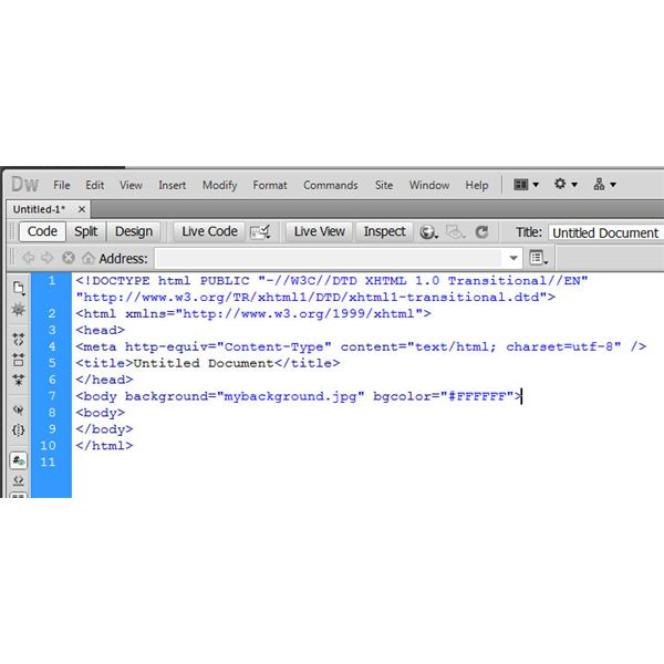 The placement of raw HTML code within the Dreamweaver Document
