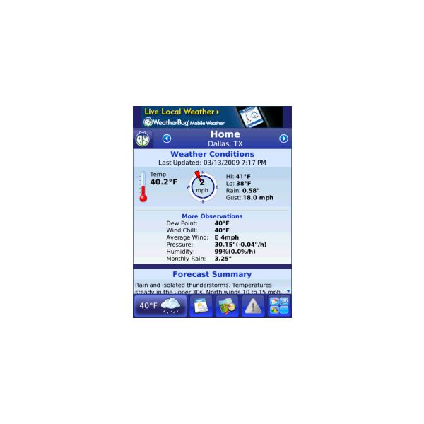 WeatherBug - Weather app for blackberry