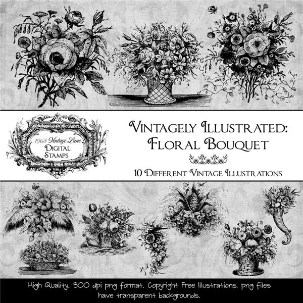 Vintageley Illustrated Floral Bouquet