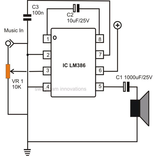 Circuit Diagram Of Audio Amplifier | How To Build Small Simple Audio Amplifiers Using Ic Lm386