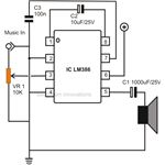 Simple Low Power Audio Amplifier Circuit Diagram Using IC LM386 with a Gain of 200