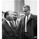 Martin Luther King, Jr. and Malcolm X meet before a press conference, March 1964