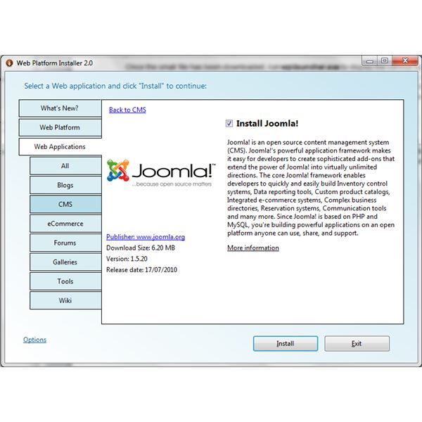 Use Microsoft Web PI to Install Joomla on Your PC