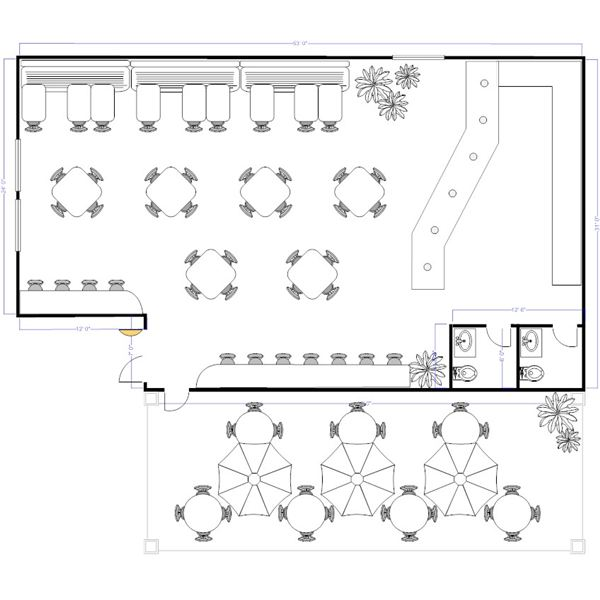 Sample restaurant floor plans to keep hungry customers for Shop design plans