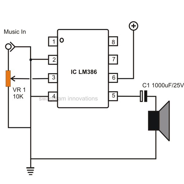 how to build small simple audio amplifiers using ic lm386 rh brighthubengineering com 100W Audio Amplifier Circuit Diagram 100W Audio Amplifier Circuit Diagram