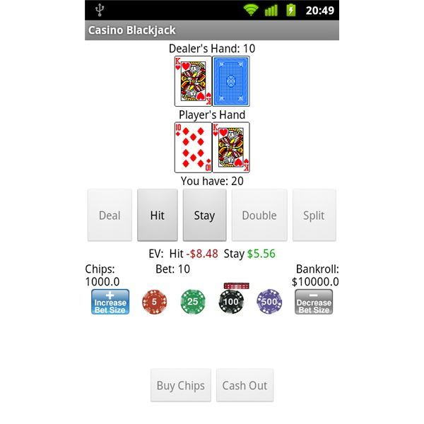Casino Blackjack In Game Screen
