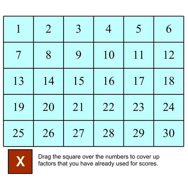 image relating to Factor Game Printable identified as Sensible Board Math Video games: Informative Math Online games By yourself Can Depend Upon!