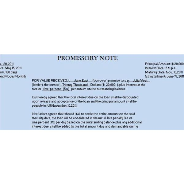 Promissory Note Interest Calculator Aprilonthemarchco - Promissory note with interest template