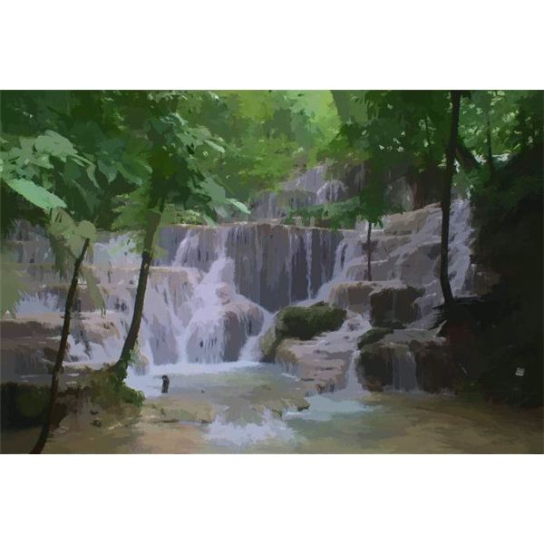 Waterfall with Watercolor Effect