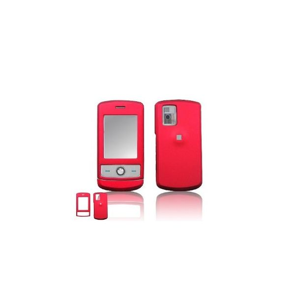 LG CU720 Shine Cell Phone Red Rubber Feel Protective Case Faceplate Cover