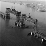 Newark Bay Bridge with lifts raised from Wiki Commons by Historic American Engineering Record